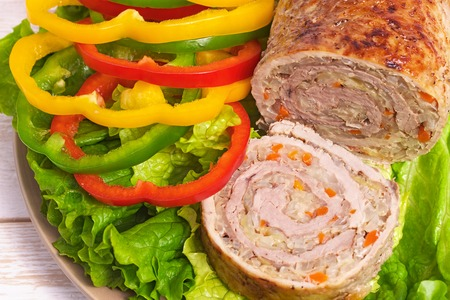 Meatloaf with vegetables. Grilled meat. Stock Photo