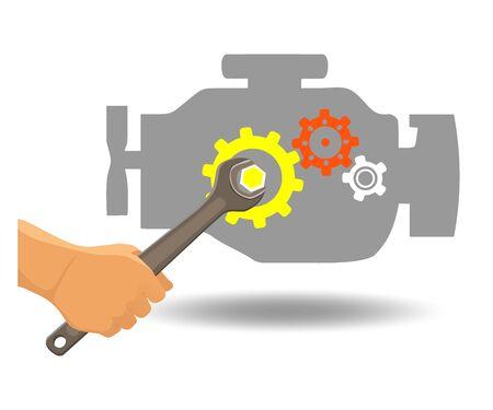 Car engine repair. Vector Illustration