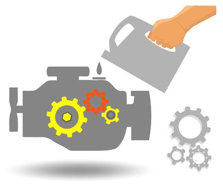 Mantenimiento del motor del coche Cambio de aceite en la estación de reparación de automóviles. Ilustración de vector plano de motor.