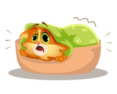 Cowardly cat cartoon vector Illustration