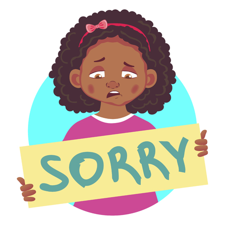 Sad african girl holding sorry poster