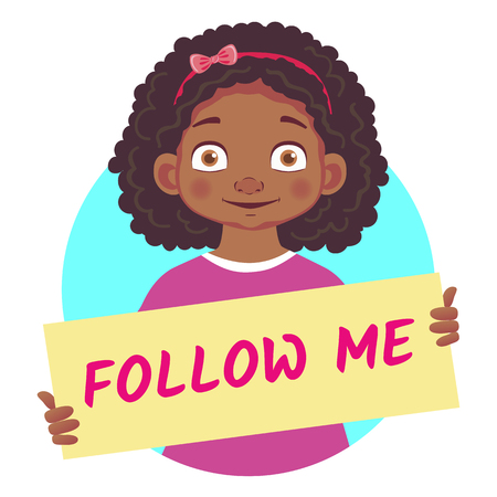 african girl holding poster - Follow me Illustration