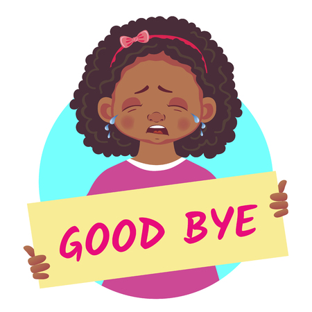 african girl holding poster-Good bye
