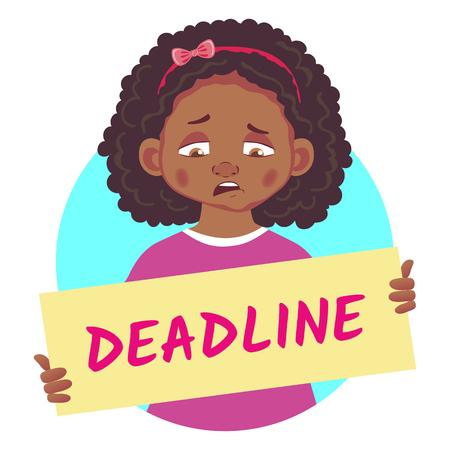 Sad African girl holding poster-Deadline