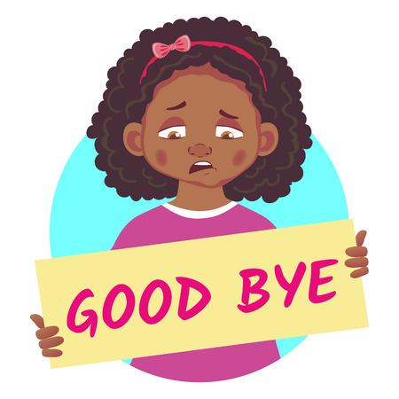 Triste, africaine, fille, tenue, affiche, au revoir