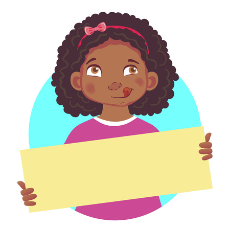 Girl holding blank poster-yum