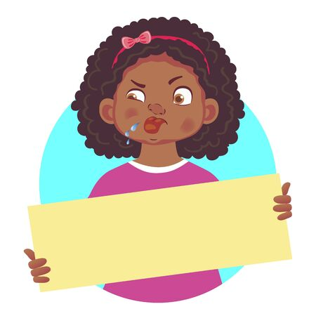african girl holding blank poster-stuck out tongue Illustration