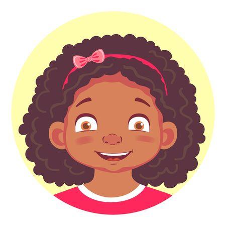 sneer: set of african girls emotions Illustration