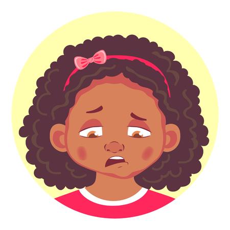 set of african girls emotions Illustration