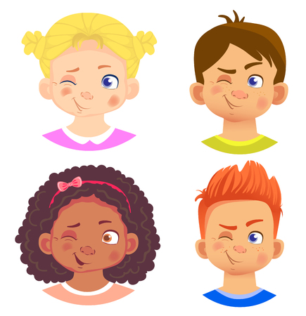 Set of girls and boy character. Children emotions. Facial expression. Set of emoticons. Flat vector illustration. Wink