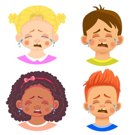 Set of girls and boy character. Children emotions. Facial expression. Set of emoticons. Flat vector illustration. Cry Illusztráció