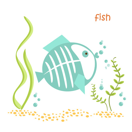 Fish isolated. Drawing fish for a child