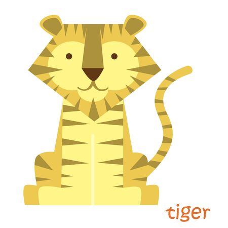 tigress: Tiger isolated. Drawing tiger for a child