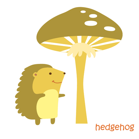 hedgehog isolated. Drawing hedgehog for a child