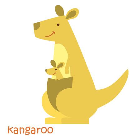 Kangoeroe geïsoleerd. Kangoeroe tekenen voor een kind Stockfoto