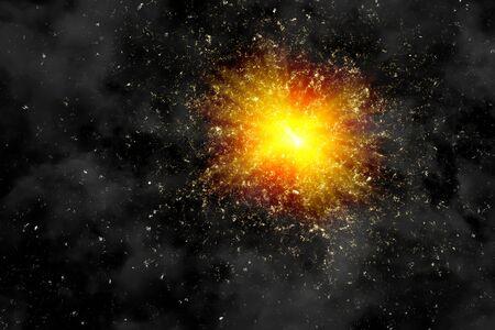 Star blast on black background. Big bang illustration