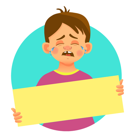 Crying boy holding blank poster. Blank message illustration. Hands holding blank paper