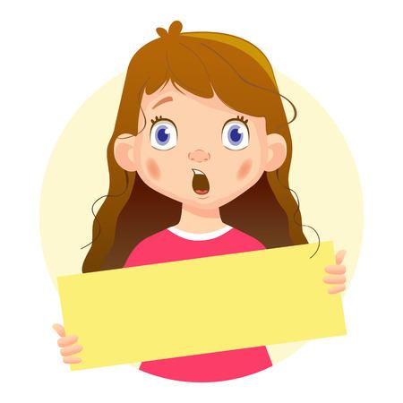 놀된 소녀 지주 빈 포스터입니다. 빈 메시지 그림입니다. 손에 들고 빈 종이