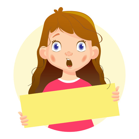 Surprised Girl holding blank poster. Blank message illustration. Hands holding blank paper