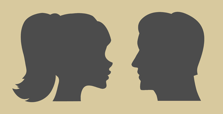 Silhouette of man and woman. Male and female icon