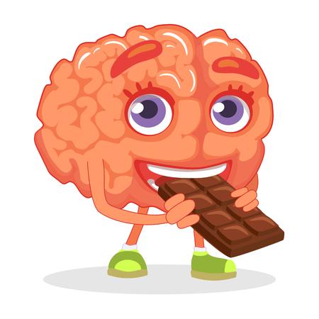 두뇌 영양 개념입니다. 두뇌 먹는 초콜릿 그림. 일러스트