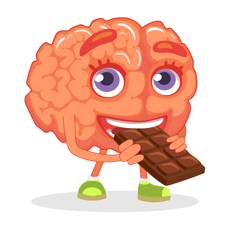 Brain nutrition concept. Brain eating chocolate illustration.