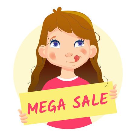 Mega Sale banner. Girl holding Big Sale poster.