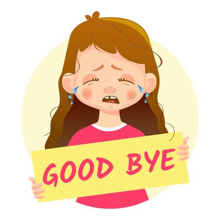 A girl holding a goodbye banner. Illustration
