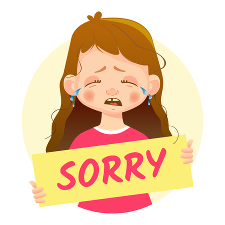 I am sorry message. Girl holding Sorry poster. Illustration