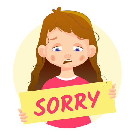 I am sorry message on white background. Sad Girl holding Sorry poster. Stock Photo