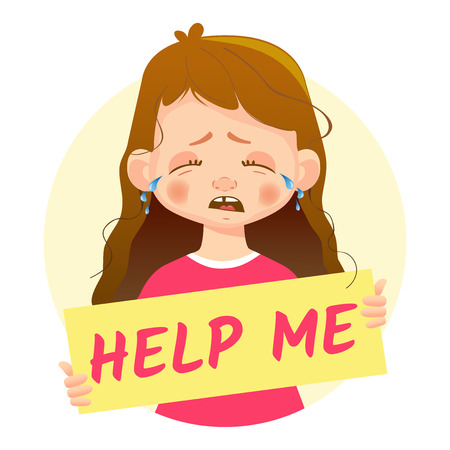 Help me message. Girl holding Help me poster. Çizim