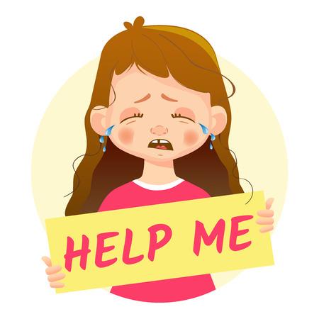 Help me message. Girl holding Help me poster. Ilustração