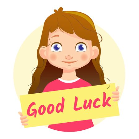goodness: Good Luck message on white background. Girl holding Good Luck poster