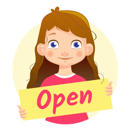 Open message on white background. Girl holding Open poster