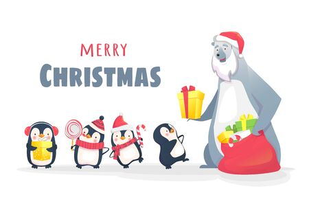 postcard box: Christmas greeting card illustration. Polar bear gives gifts to penguins. Christmas design with characters.