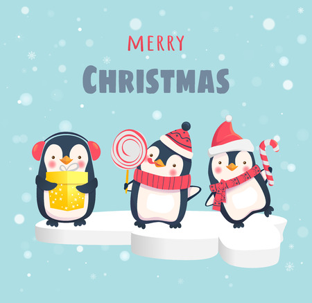 Merry Christmas. Happy penguins on the ice floe Illustration