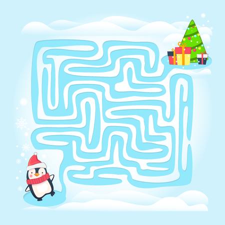 Maze game illustration. Labyrinth game for kids