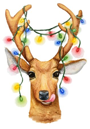 Christmas deer with a garland Stock Photo