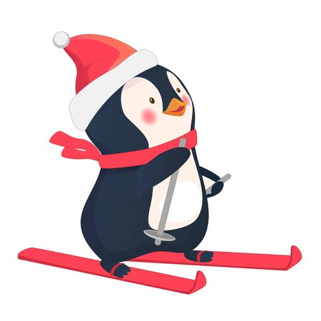 Penguin on skis. Polar penguin cartoon illustration.