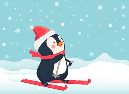 Penguin on skis. Penguin cartoon vector illustration.