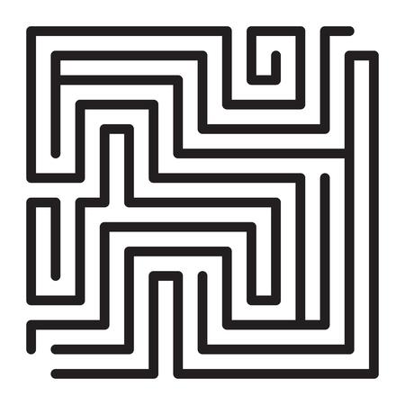 Maze game scheme. Square labyrinth sample illustration. Stock Photo