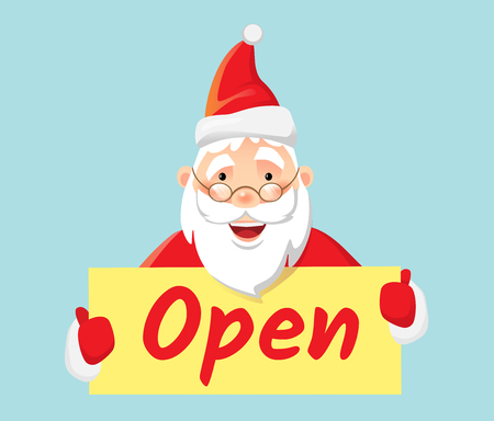 Open message. Santa Claus holding poster open