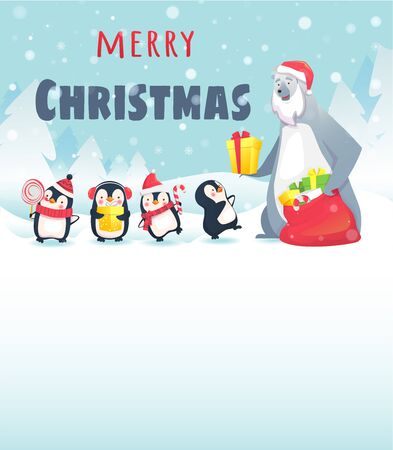 Merry Christmas with cute animals. Polar Bear Gives Christmas Gifts to Penguins. Greeting card illustration. Stock Photo