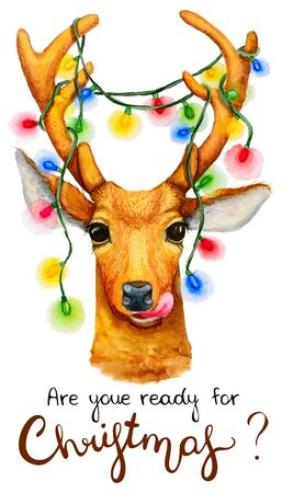Christmas deer with a garland illustration. Watercolor drawing isolated.