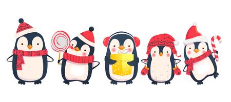 Ilustração do vetor dos desenhos animados dos pinguins. Personagens de pinguins de natal