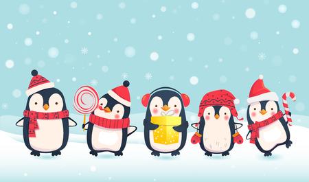 Penguins cartoon vector illustration. Christmas penguin characters