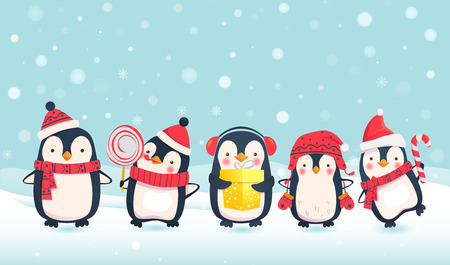 Penguins cartoon vector illustration. Christmas penguin characters