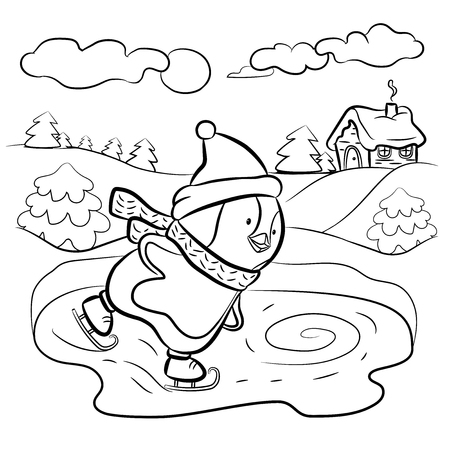 Kids Coloring Page Penguin Ice Skater Illustration Stock Photo Picture And Royalty Free Image 91339256