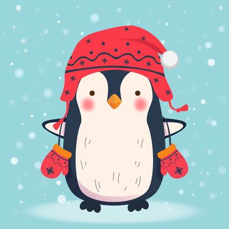 Penguin cartoon illustration. Penguin in hat and mittens