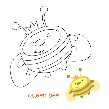 Illustration of bee for children's coloring book